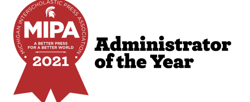 """Red MIPA badge with text """"Administrator of the Year"""""""